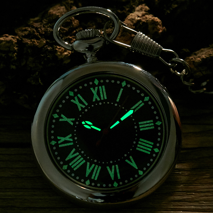 Luminous Hands Quartz Pocket Watch Pendant Fob Chain Reloj For Men Women Gold Sliver Black Case Male Roman Style Montre De Poche