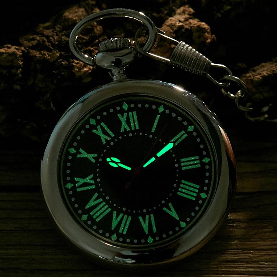 Luminous Hands Quartz Pocket Watch Pendant Fob Chain Reloj For Men Women Gold Sliver Black Case Male Roman Style Montre De Poche