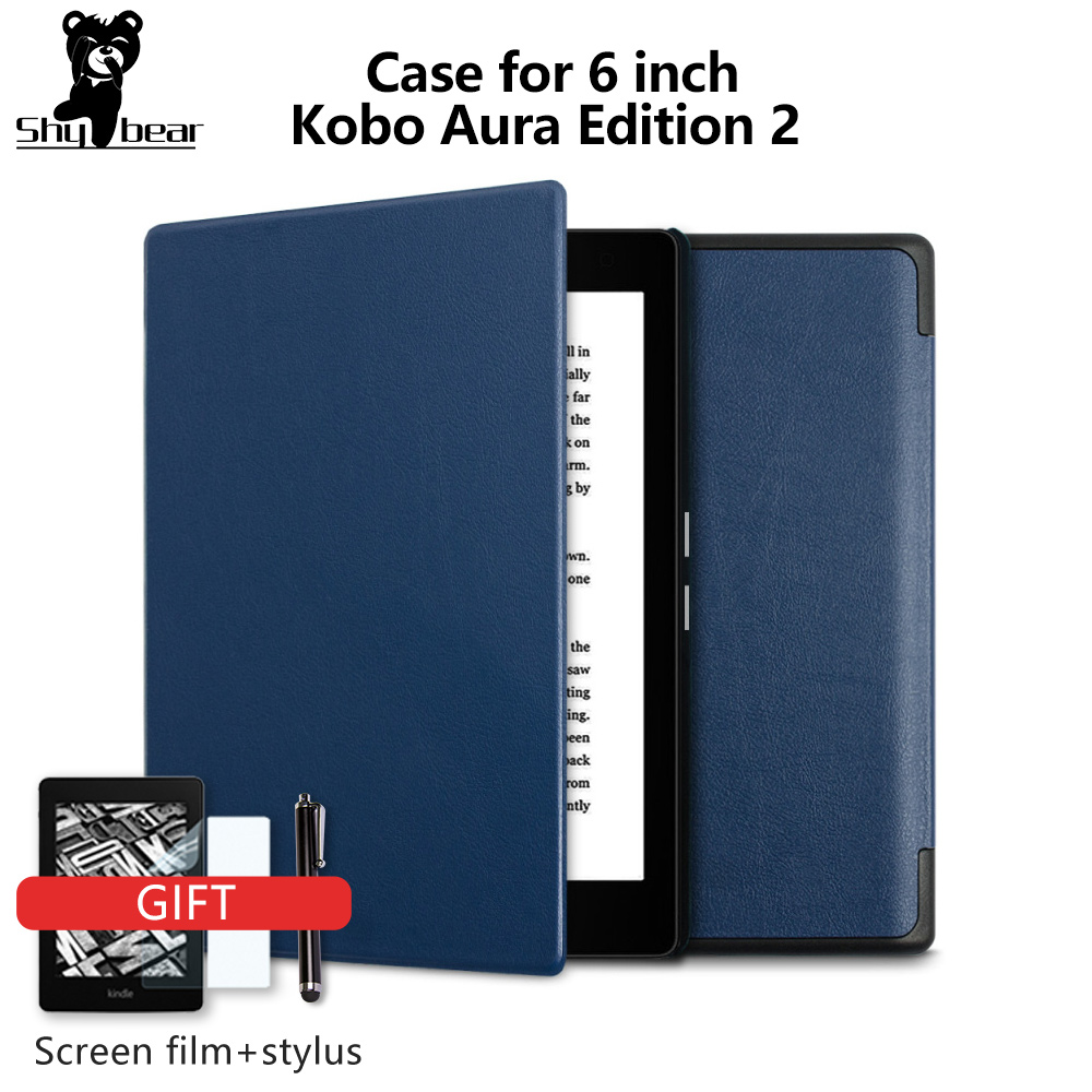 For Kobo Aura Edition 2 new 6 inch eReader Ebook PU leather smart cover protective stand folio case + protector film + stylus|folio case|smart coverebook case 6 inch - title=