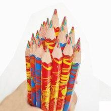 Crayons de couleur multicolores en bois 4 en 1, style graffiti, marqueur pour dessin, enfants, fournitures scolaires et bureau, art mignon