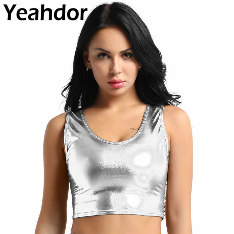 Womens Fashion Shiny Metallic Pole Dance Crop Tops Vest Hals Tank Tops Bustier Blouse Shirt Nachtclub Vest Sexy Clubwear