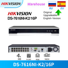 Hikvision Original 16CH 4K 16POE NVR DS-7616NI-K2/16P H.265 8mp Plug & Play for IP Camera Third-Party Network Cameras Supported