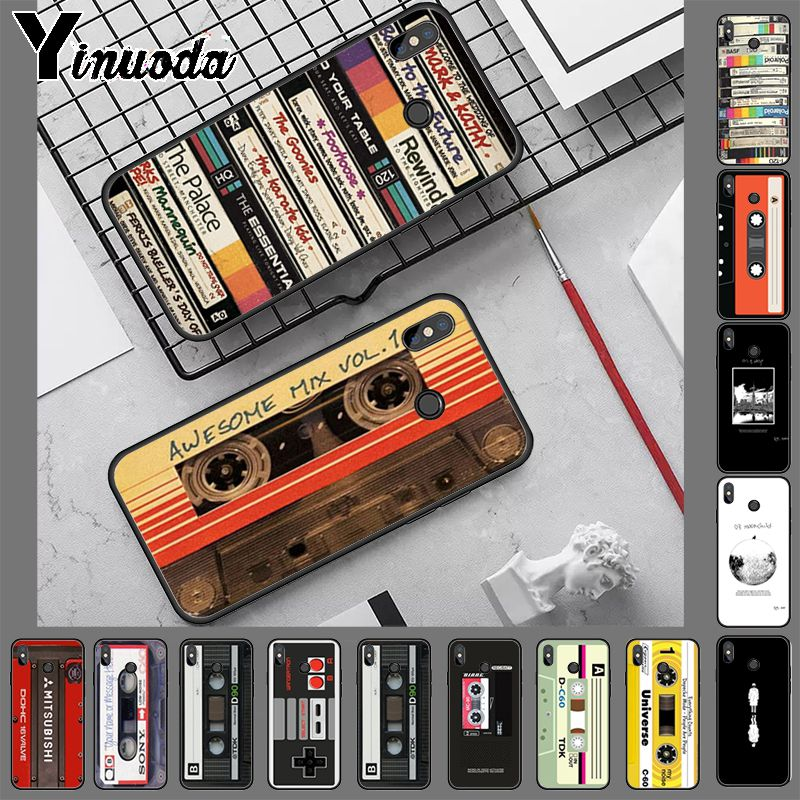 Ynuoda mixtape Audio cassette Unique Luxury soft tpu Silicone case for xiaomi mi 8 se 6 note3 redmi 5 5plus note 5 case coque