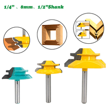 1PC 1/4 6.35MM Shank Milling Cutter Wood Carving 45 Degree Lock Miter Router Bit Tenon Milling Cutter Woodworking Machine Tools new 1pc 1 4 shank lock miter router bit 45 degree woodworking cutter 1 1 2 diameter for capenter tools