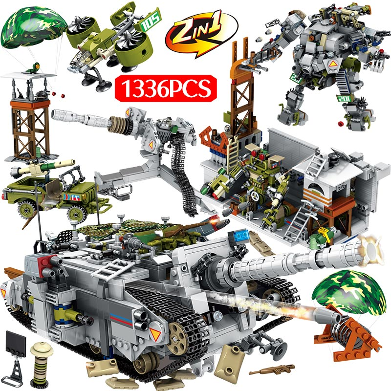 1366PCS Military Tiger Heavy Destroyer Tank Building Blocks Compatible Technic City WW2 Figure Bricks Kids Toys Gifts