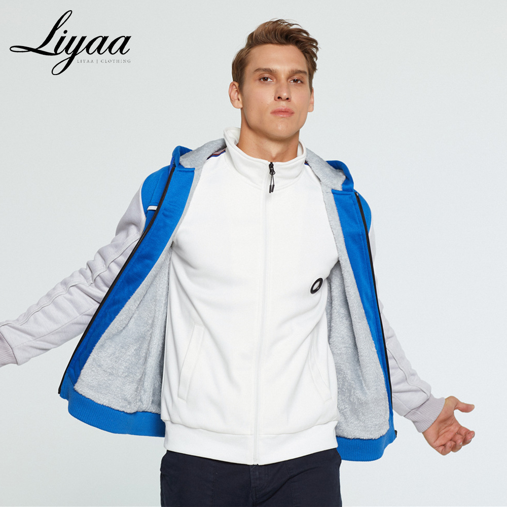 Liyaa New Men Hoodies Sweatshirts Winter Brand Men's Hoodies Warm Jacket Male Casual Solid Color Splice Hoodies Sweatshirts