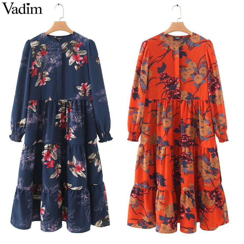 €10.95 35% СКИДКА|Vadim женское платье рубашка до середины икры с цветочным принтом, с длинным рукавом и круглым вырезом, плиссированные Женские повседневные платья миди в стиле ретро, vestidos mujer QB295|Платья| |  - AliExpress