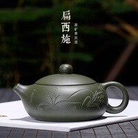 Yixing Ton Teekanne Roherz Grün Schlamm Flache Xi Shi Handmade Carving in Skizze Topf Carving Orchidee eine Generation von fett-in Teebretter aus Heim und Garten bei