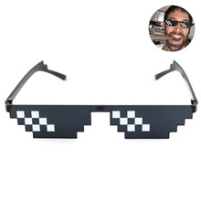 Sunglasses Men Women Cool Thug Life Pixelated Brand Party Eyeglasses Mosaic UV400 Vintage Eyewear Unisex Gift Toy Glasses(China)
