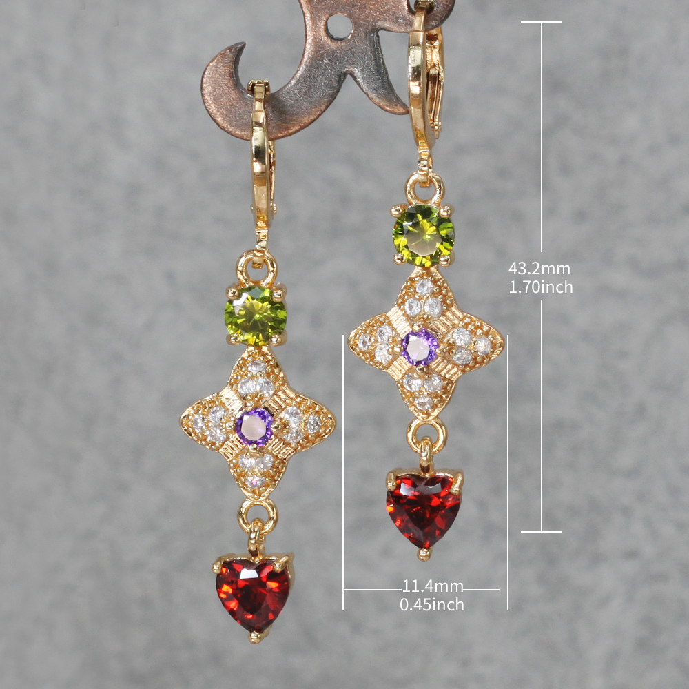 Hc991acaa423d480baf446b93bc9cffc1g - Trendy Vintage Drop Earrings For Women Gold Filled  Red Green Pink Lavender Zircon Earrings Gold  Earring Wedding  Jewelry