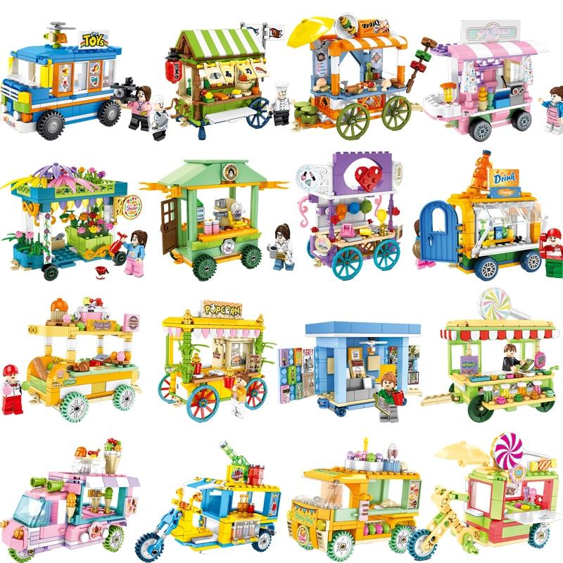 Mini City Shop Sushi BBQ Cart Car Architecture Creator Building Blocks House Bricks Figures Legoinglys Toys For Children Story