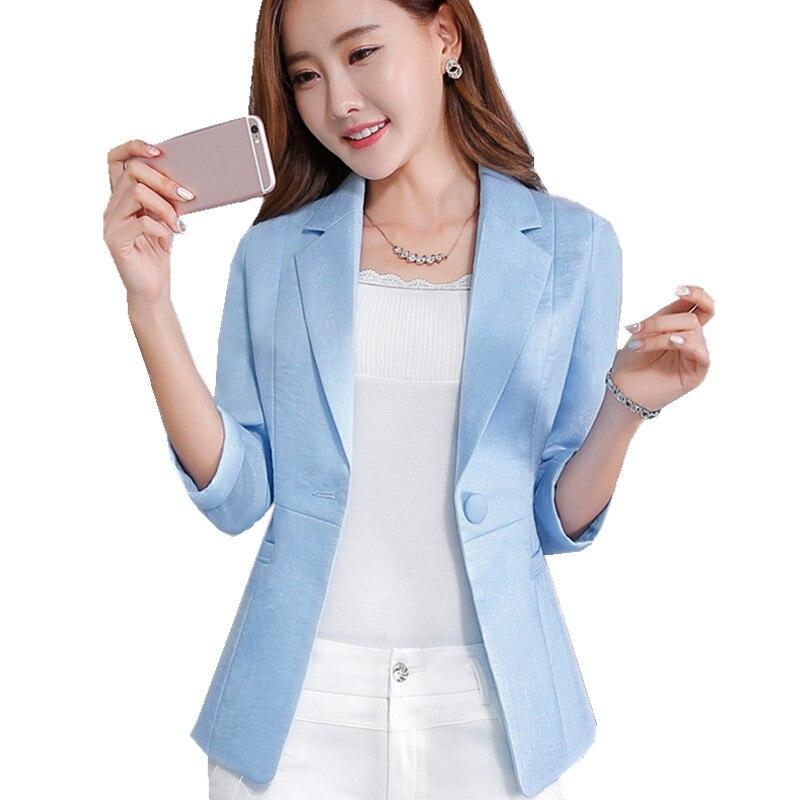 Fmasuth 5XL Plus Size Linen Blazer Women Elegant Office Jacket Summer 3/4 Sleeve Single Button Blazer And Jacket SX1622
