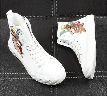 2020 Men Fashion Hip Hop Shoes Male Leather White Embroidery Chines Style High Top Personality Lace Up Sneakers Men Shoes