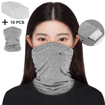 Polyester Neck Gaiter 3D Printing Mask with 5-ply Filter Insert Bandana Quick-drying Sports Cycling Face Mask