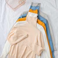 DeRuiLaDy 2019 Neue Herbst Winter Gestrickte Pullover Pullover Frauen Rollkragen Langarm Pullover Tops Frauen Casual Weiß Pullover