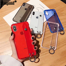 Wrist Strap Phone Case For iphone X Xs max XR 7 8 6 6S plus Luxury Glitter Bling Transparent Soft TPU Holder Back