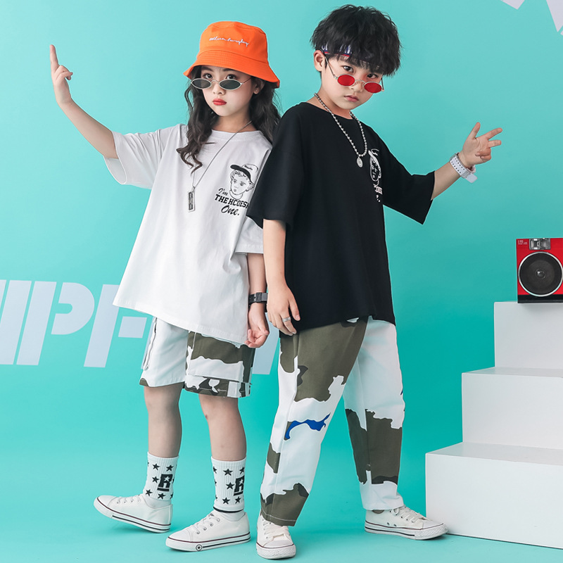 Kids Dance Clothes Jazz Ballroom Dancing Competition Costumes Hip Hop Costumes For Girls Boys T Shirt Tops Pants Stage Show Wear