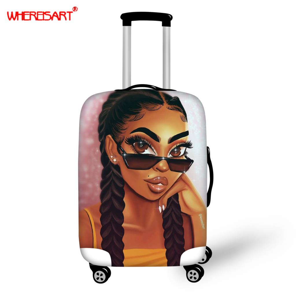 WHEREISART Brand Elastic Luggage Protection Cover Applies18-30 Inch Trolley Suitcase Dust Cover Afro Girls Travel Accessories