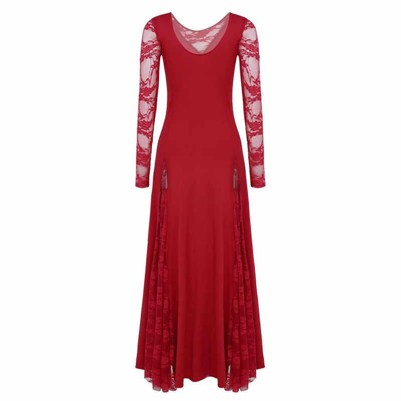 Vestido de baile de graduación de manga larga con empalme de encaje para mujer