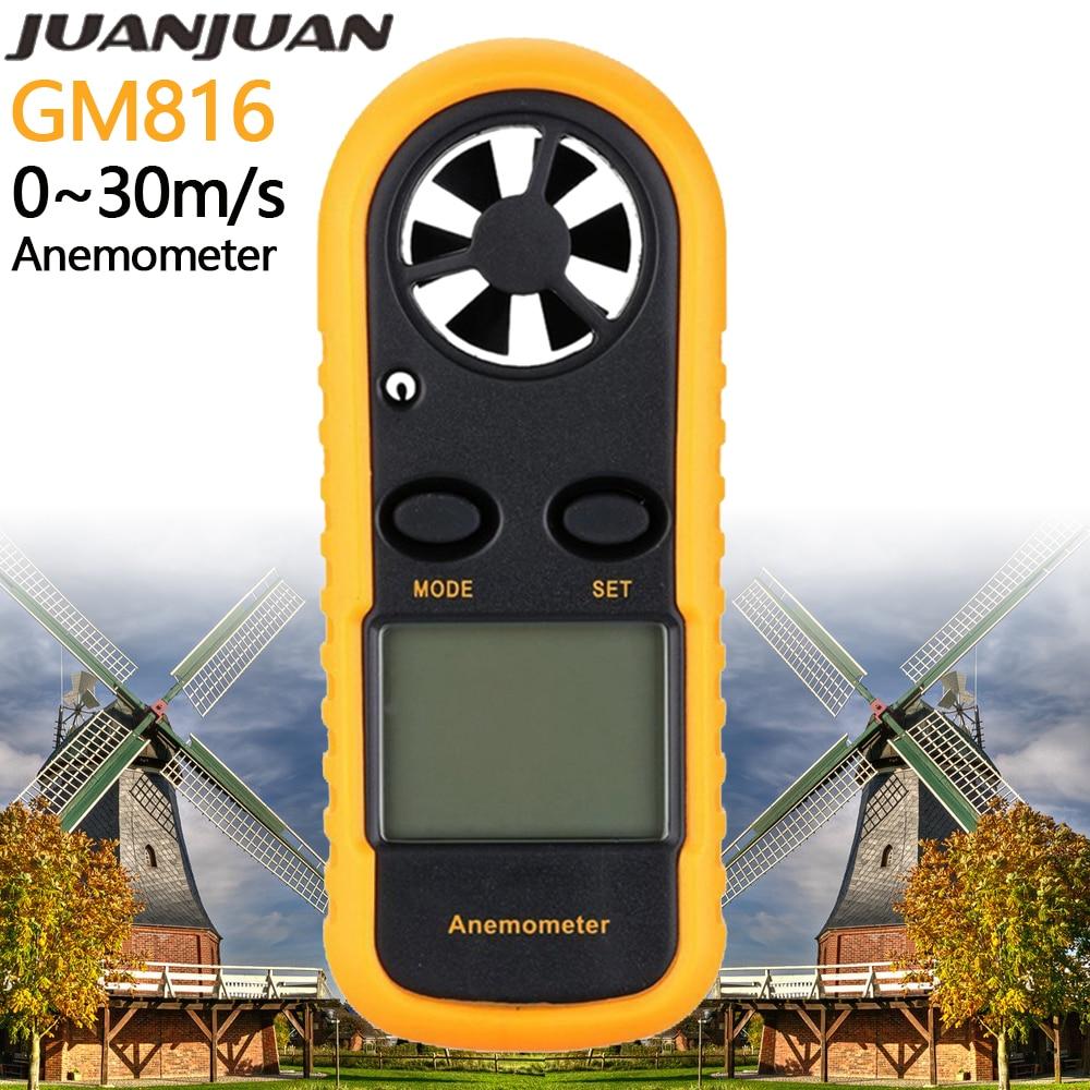 GM816 Anemometer Air Wind Speed Gauge Digital Anemometro Thermometer Wind Velocity Meter Windmeter 30m/s Temp Test Tool 40%OFF