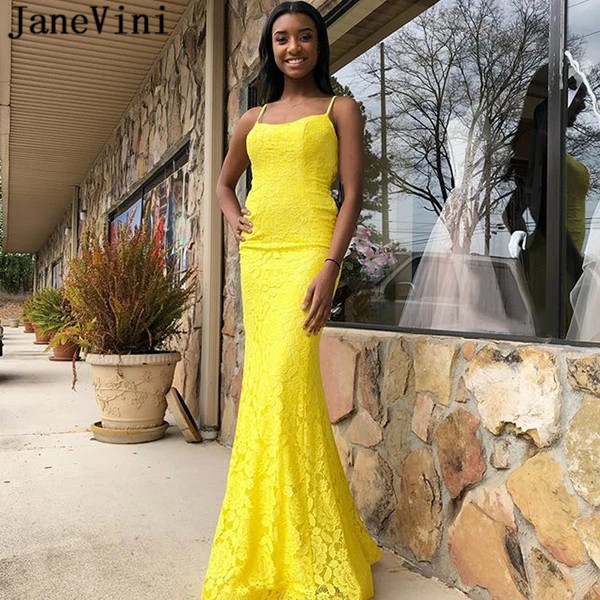 JaneVini Yellow Lace Vestido Prom Dresses 2020 Long Trumpet Mermaid Ladies Spaghetti Straps Backless Formal Evening Party Gowns