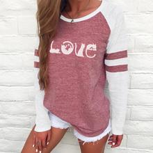 2019 New Winter Women Fashion Clothes Long Sleeve Letter Print T Shirt Casual Splice Tops