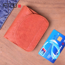AETOO Original handmade leather short wallet retro first layer cowhide vertical zipper male buckle buckle coin purse couple you aetoo original retro wrinkled leather vertical wallet men s short paragraph the first layer of leather wallet zipper small card
