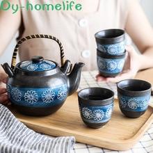 цена на Japanese-style Creative Blue Chrysanthemum Ceramic Coffee Tea Set Gift Box Hotel Home Gift Beam Teapot Teacup Flower Tea Coffee