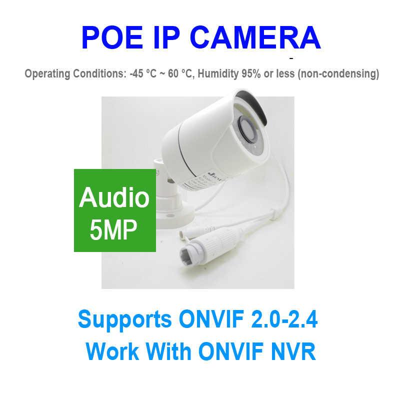 JIENUO Audio POE Camera IP 5MP Outdoor Waterdichte HD Cctv Video Surveillance Nachtzicht Infrarood IPCam Thuis Camera