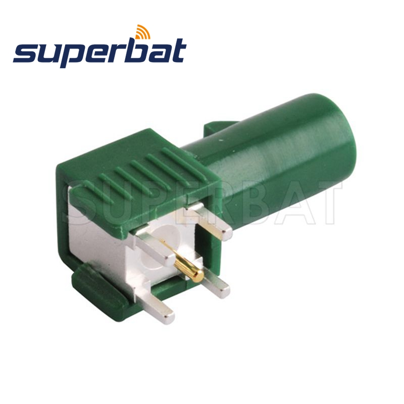 Superbat Car TV1 Antenna Connector Fakra E Green/6002 Male Plug PCB Mount Right Angle Motor Vehicle Boat RV Audio Video