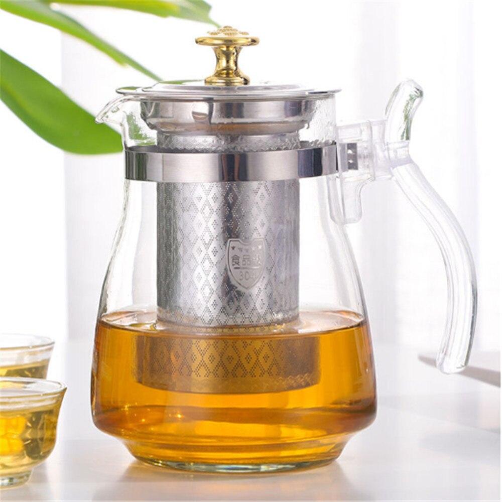 Teapot 900ml Puer Tea Kettle Glass Teapot Green Tea Milk Oolong Teapots Removable Stainless Steel Liner Heat Resistant Tea Pot