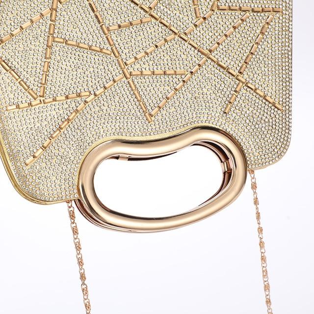 Evening  Luxury Designer Irregular Crystal Rhinestone PU Leather Shoulder Bag  4