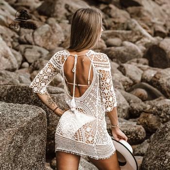 CUPSHE Apricot Boho Hollow-Out Cover Up Sexy Deep Open Back Woman Beach Mini Dress 2020 Summer Bathing Suit Women Beachwear - discount item  42% OFF Swimwears