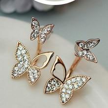 Fabricantes vendendo brincos em forma de borboleta dois wear moda temperamento coreano brincos jóias finas para mulher