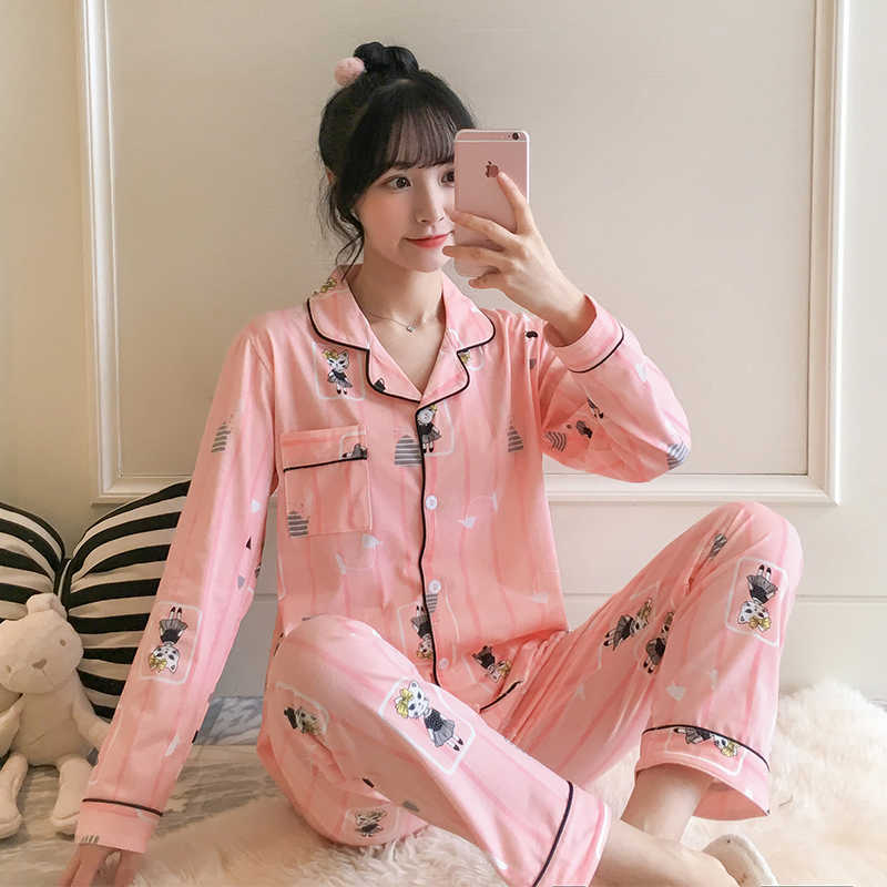 Women's Sleepwear Stripe Nightwear Casual Long Sleeve Pijamas Skin Friendly Sleep Clothing Cute Kitten Pattern Pajamas