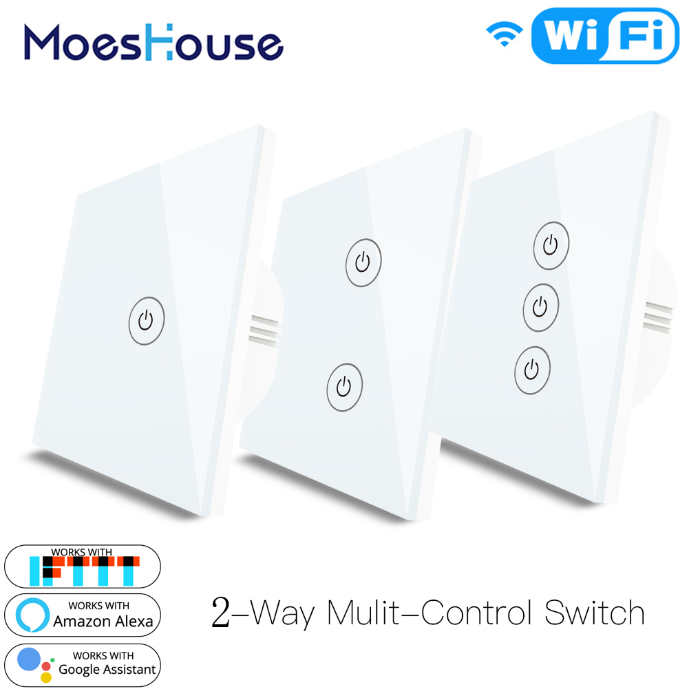 EU UK 2 Way WiFi Smart Multi-Control Switch For Light Work With Alexa Google Home No Hub Required Smart Life APP Remote Control