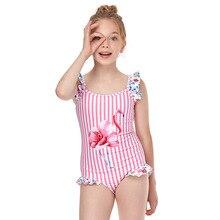 Girls One Piece Swimsuits Flamingo Swimwear Beach Bathing Suit 2-12 Years