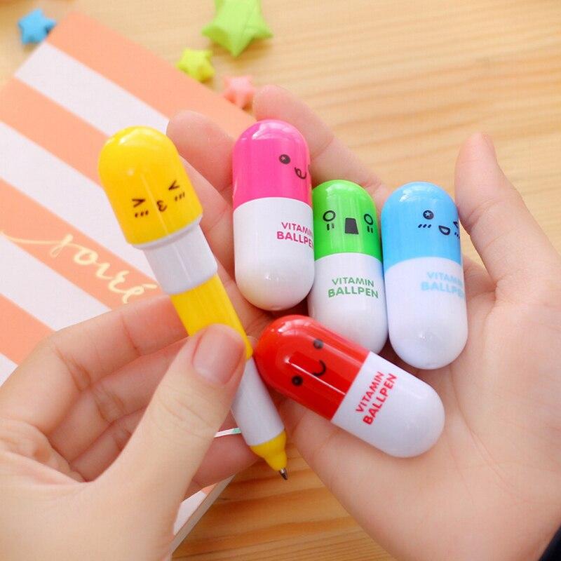 3X Креативный дизайн витаминной смайлики, эластичная Шариковая ручка для школы, шариковая ручка, детские канцтовары