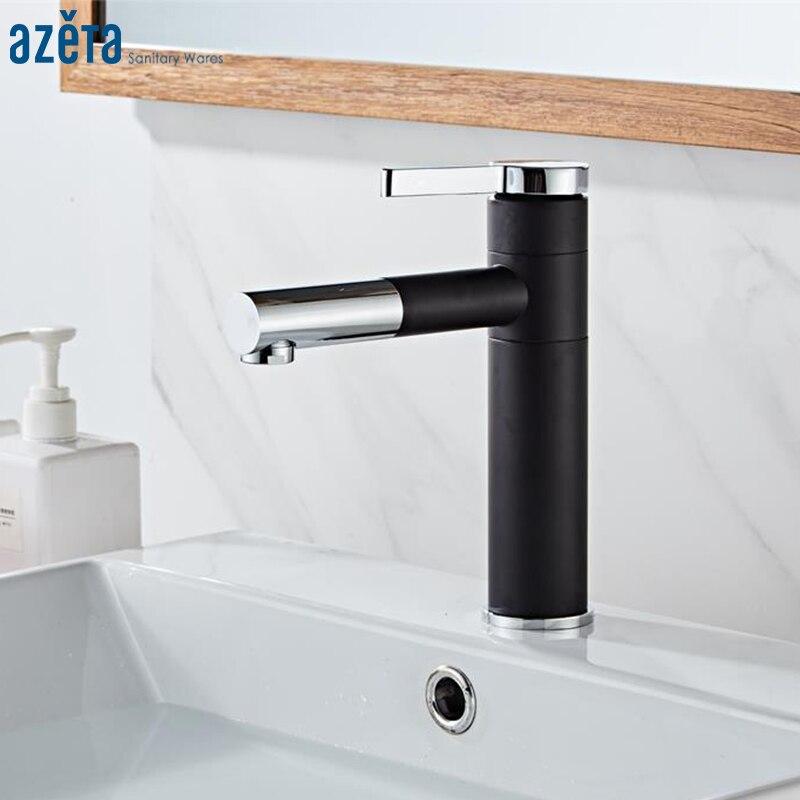 Azeta Black Bathroom Faucet Swivel Spout Basin Faucet Deck Mounted Washbasin Sink Mixer Single Handle Basin Tap Torneira AT7406B