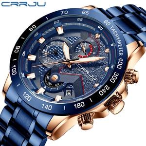 CRRJU Fashion men watches Top Luxury Brand Chronograph Wristwatch male Waterproof Sport Quartz watch men clock relogio masculino(China)