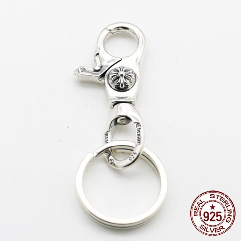 S925 sterling silber männer schlüsselbund persönlichkeit klassische punk stil hip hop dominierenden kreuz ring form senden liebhaber geschenk schmuck