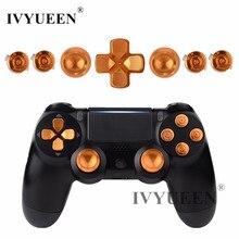 Ivyueen ゴールドソニーのデュアルショック 4 PS4 DS4 プロスリムコントローラアルミ金属アナログスティックサムスティックアクションボタン mod キット