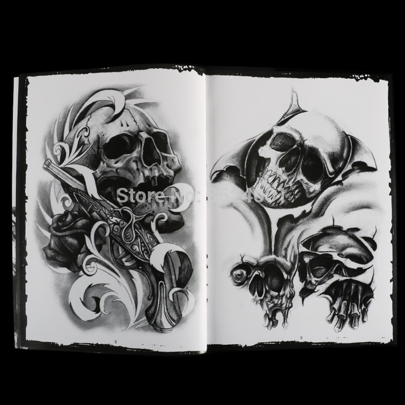 Image 4 - Newst 76 Pages A4 Tattoo Book Black Sexy Skull Design Sketch Flash Book Tattoo Flash Sketchbook Free Shipping B5-in Tattoo accesories from Beauty & Health