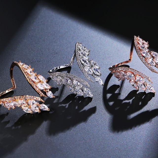 UILZ mode femmes anneaux bijoux à la main cubique zircone papillon ailes anneau pour mariée mariage anniversaire Bijourx UR188