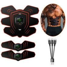 EMS электростимулятор мышц брюшной тонизатор мускулов тренажер для пресса с ЖК-дисплеем USB Перезаряжаемый фитнес-учебное оборудование спортивный пояс