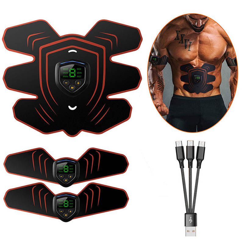 EMS Muscle Electro Stimulator Abdominal Muscle Toner Abs Trainer with LCD Display USB Rechargeable Fitness Training Gear Ab Belt image