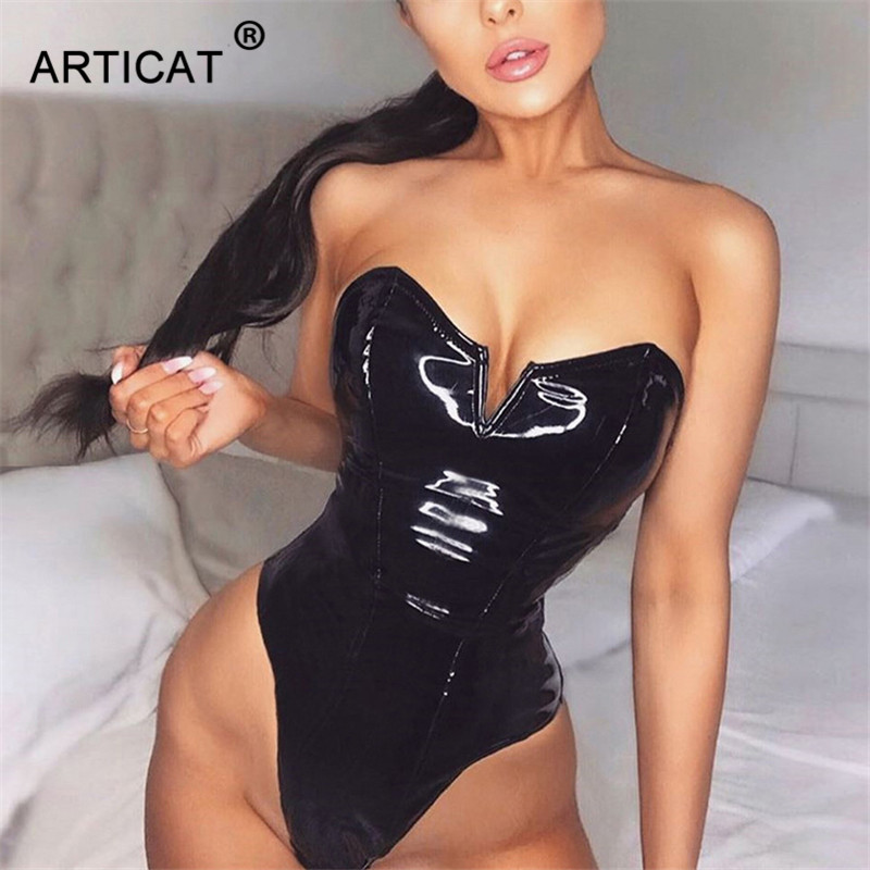 Articat Black PU Leather Sexy Bodysuit Women Tops Strapless Bodycon Rompers Womens   Jumpsuit   Fashion Party Christmas Playsuits