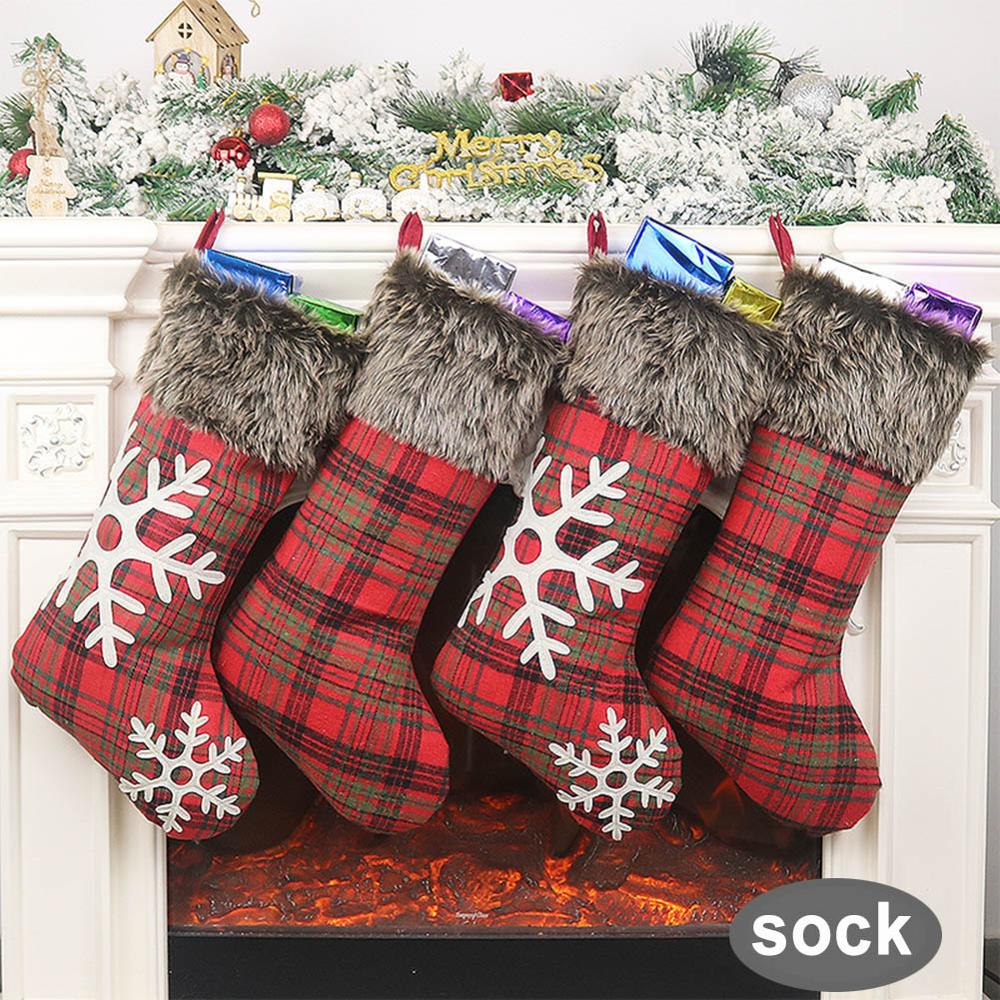 Christmas Gift Socks Plush Christmas Stocking With Hanging Rope For Xmas Tree Ornament Christmas Decorations