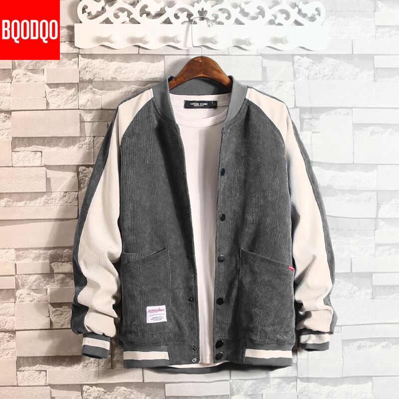 Sztruksowa kurtka Bomber mężczyźni Japan Style hiphopowy sweter Baseball odzież męska płaszcz japoński OVERSIZE kurtki okazjonalne i płaszcze