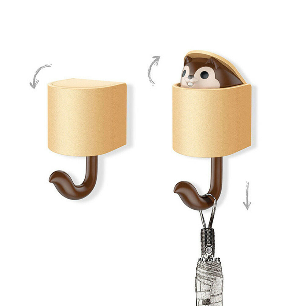 Home Organizer 1PC Squirrel Wall Hook Adhesive Home Cartoon Cute Hanger Key Umbrella Towel Cap Coat FPing